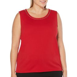 Rafaella Plus Emellished Neckline Solid Tank Top