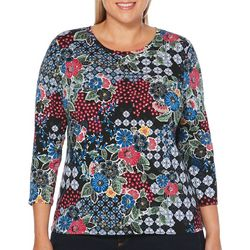 Rafaella Plus Floral Medallion Print Round Neck Top