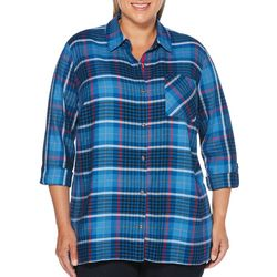 Rafaella Plus Plaid Roll Tab Top