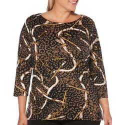 Rafaella Plus Mixed Animal Chain Print Embellished Top