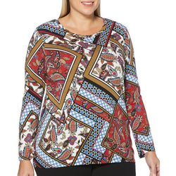 Rafaella Plus Geometric Patchwork Long Sleeve Top