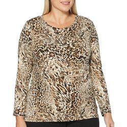 Rafaella Plus Leopard Print Round Neck Long Sleeve Top