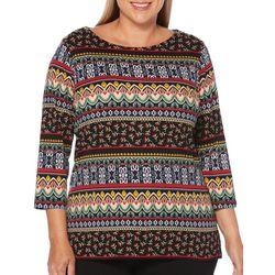Rafaella Plus Embellished Mixed Stripe Print Top