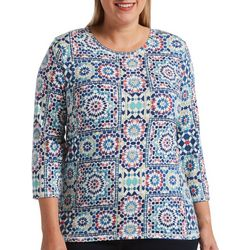 Rafaella Plus Tile Medallion Print Round Neck Top