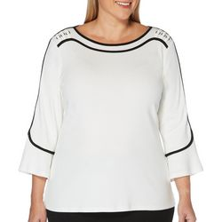 Rafaella Plus Solid Contrasting Trim Boat Neck Top