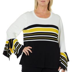 Melissa Paige Plus Striped Bell Sleeve Sweater