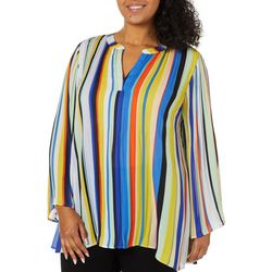 Melissa Paige Plus Striped Split Neck Top