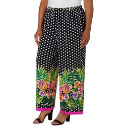 Melissa Paige Plus Polka Dot Floral Border Palazzo Pants