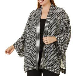 Max Studio Plus Geo Tile Print Wrap Kimono Top