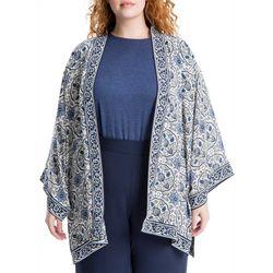 Max Studio Plus Border Print Kimono