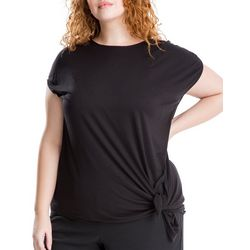 Max Studio Plus Solid Side Tie Short Sleeve Top
