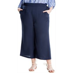 Max Studio Plus Solid Wide Leg Cropped Pants