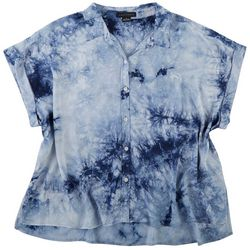 Sanctuary Womens Plus Tie Dye Button Down Top