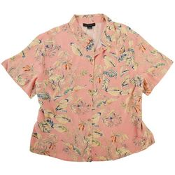 Sanctuary Womens Plus Floral Button Down Top