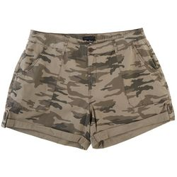 Sanctuary Plus Camo Poplin Cuffed Denim Shorts