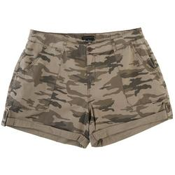 Plus Camo Poplin Cuffed Denim Shorts