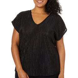 Coco's Closet Plus Solid Crystal Pleated V-Neck Top