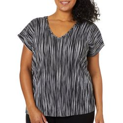 Coco's Closet Plus Stripe Crystal Pleated V-Neck Top