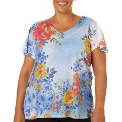OneWorld Plus Embellished Floral Print V-Neck Top