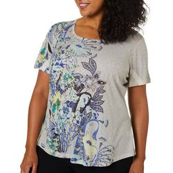 OneWorld Plus Wave Garden Embellished Floral Top