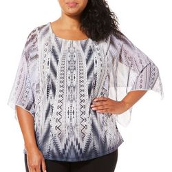 OneWorld Plus Eventful Gala Tribal Print Top