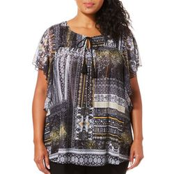 OneWorld Plus Dancing Dame Mesh Tassel Top