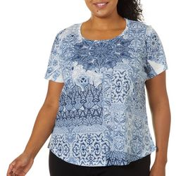 OneWorld Plus Mosaic Stones Jeweled Scoop Neck Top