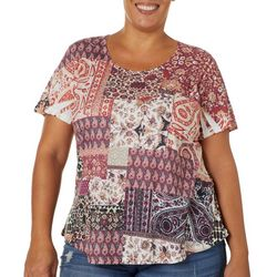 OneWorld Plus Casablanca Story Jeweled Scoop Neck Top