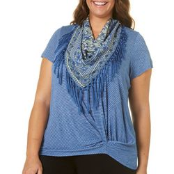 OneWorld Plus Striped Front Knot & Scarf Top