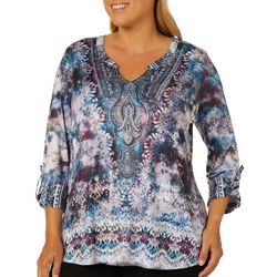 OneWorld Plus Chilling Poem Tie Dye Print Top