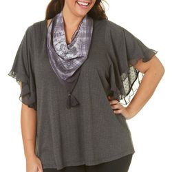 OneWorld Plus Solid Ruffle Sleeve & Scarf Top