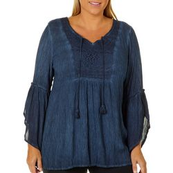 OneWorld Plus Mineral Wash Lace Yoke Bell Sleeve Top