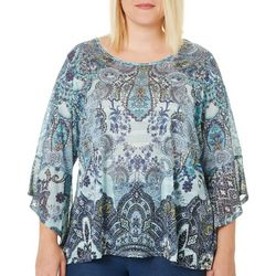 OneWorld Plus Spy Glass Print Bell Sleeve Top
