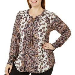 OneWorld Plus Mixed Paisley Long Sleeve Top