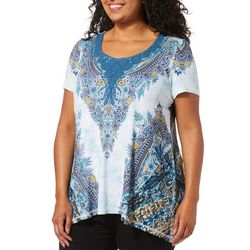 OneWorld Plus Embellished Paisley Lace Sharkbite Hem Top