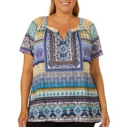 OneWorld Plus Magnificent Scarf Print Short Sleeve Top