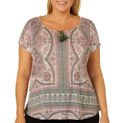 OneWorld Womens Surprising Passion Print Flutter Sleeve Top