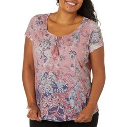 OneWorld Plus Adventure Abroad Paisley Short Sleeve Top