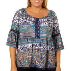 OneWorld Plus Casual Party Print Eyelet Trim Top