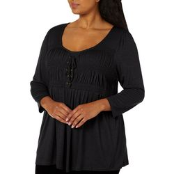 OneWorld Plus Solid Elbow Sleeve Smocked Detail Top