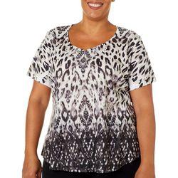 OneWorld Plus Embellished Boho Cat Short Sleeve To