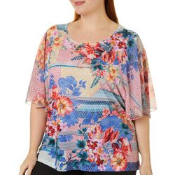 OneWorld Plus Jeweled Mixed Floral Print Short Sleeve Top