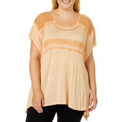 OneWorld Plus Mineral Wash Crochet Sharkbite Top