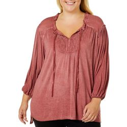 OneWorld Plus Mineral Wash Lace Yoke Top