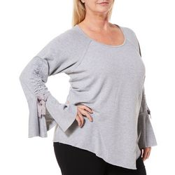 OneWorld Plus Heathered Ruched Bell Sleeve Top