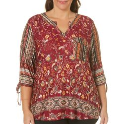 OneWorld Plus Bohemian Mix Media Border Print Top