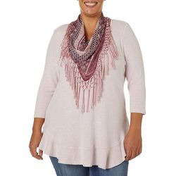 OneWorld Plus Scarf & Heathered Solid Round Neck Top