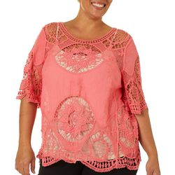 OneWorld Plus Solid Crochet Trim Short Sleeve Top