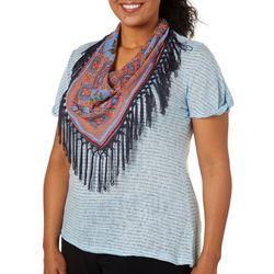 OneWorld Plus Scarf & Striped Short Sleeve Top