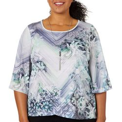 OneWorld Plus Floral Stripe Bell Sleeve Top & Necklace